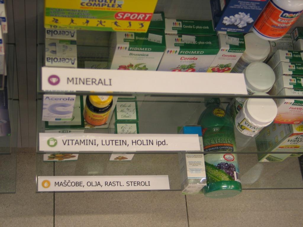 Umestitev prehranskih dopolnil na policah lekarn